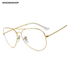 Gold Frame Clear Lens Metal Aviator Glasses Fashion Retro Trendy Eyewear