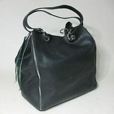 PURSE BAG BLACK PEBBLED TEXTURED LEATHER XL EXTRA LARGE TOTE w/ REMOVABLE POUCH