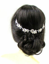 Silver White Rose Flower Pearl Diamante Bridal Headpiece Hair Vine Headband 624