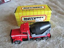 1993 Matchbox Peterbilt Cement Truck MB 19 Red & Black with Box - SHIPS FAST