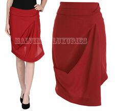 $1,095 BALENCIAGA SKIRT RED WOOL DRAPED FRONT ASYMMETRICAL BACK sz 36FR US 4