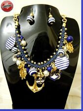 Nautical Charm Anchor Heart Beaded Statement Gold Pendant Necklace Sea World