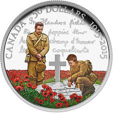 "2015 Canada $50 Proof Silver 100th Anniv of ""In Flanders Fields"" - SKU #89608"