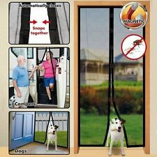 *NEW* Snap Screen Magnetised Door Insect Fly Screen Door Mesh (Black) FREE P&P
