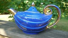 "Hall Pottery Co. ""Alladin"" teapot - Marine/gold label - Swag Design"