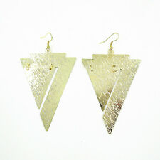 Fashion Design Yellow Gold Plated Triangle Drop Dangle Hook Earrings
