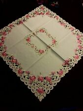 """33""""x33"""" Square Embroidered Pink Floral Cutwork Tablecloth Gift Party Home Decor"""