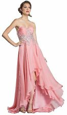 Women's Formal Hight Low Rhinestones Sequins beaded Long Evening Gown prom dress