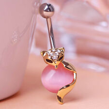 Navel Belly Bars dangle Body Piercing Button crystal gold plated opal fox