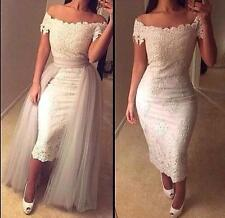 Ivorywhite Off Shoulder Short Lace Wedding Dress Tulle Train Bridal Gown Custom
