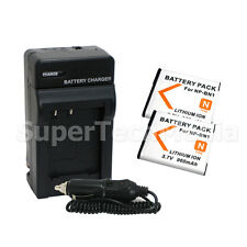 2 Battery + Charger For Sony NP-BN1 DSC-W530 W570 WX9 TX5 WX150 WX80 WX70 WX50