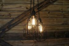 """Edison Age 3- light Black Bulb cage Chandelier pendant light with """" ROUND""""  wire"""