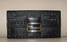 FENDI WOMEN'S BLACK LEATHER ZUCCA MONOGRAM CANVAS TRIFOLD WALLET COIN PURSE 7x3