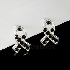 w Swarovski Crystal Black 911 Mourning Melanoma Cancer Awareness Ribbon Earrings