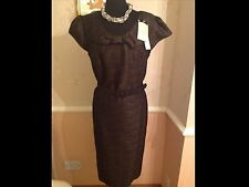 Laura Ashley OCCASION Black/Gold Cap Sleeve Dress/Buckle Belt 18 RRP £115 BNWT