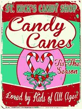 ST Nicks Candy Shop Metal Sign, Holiday Treats, Retro Christmas Candy Cane Decor