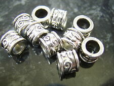 10 x Silver tone patterned spacer EUROPEAN charm bead