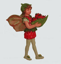 STRAWBERRY FAERY Flower Fairy Ornament Cicely Mary Barker garden faerie figurine