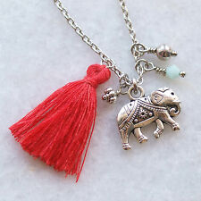 "Elephant Necklace - Tassel Bohemian Indian Charms Short 18"" Chain Handmade UK"