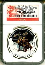 2013 S$1 Tuvalu Three Headed Dragon Early Release NGC PF70 Ultra Cameo