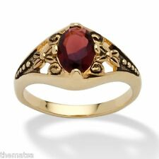 WOMENS ANTIQUED 14K GOLD BIRTHSTONE JANUARY GARNET RING  5 6 7 8 9 10