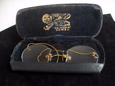 Vintage gold tone pince nez with earpiece and case 11266