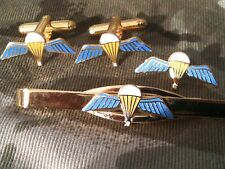Parachute Qualification Wings Cufflinks, Badge, Tie Clip Military Gift Set