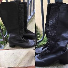 VTG Go Go Boots Black Leather Size 6     N
