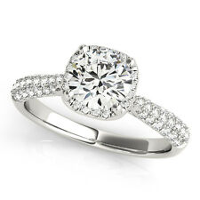 1.65 FOREVER BRILLIANT MOISSANITE ROUND MICRO PAVE BAND ENGAGEMENT RING