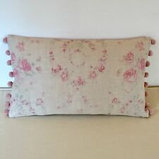 "NEW Kate Forman Amelia Pink Linen Fabric 20""x12"" Pom Pom or Piped Cushion Cover"