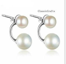 925 sterling silver 9-10mm & 6-7mm freshwater pearl  stud  earrings white