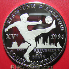 BENIN 1994 1000 FRANCS SILVER PROOF 1992 WORLD CUP SOCCER PLAYER BALL OLYMPICS