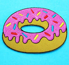 STRAWBERRY DOUGHNUT Donut Food Bakery Applique Embroidered Iron Sew on Patch