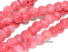 6MM RHODOCHROSITE CHERRY PINK JADE GEMSTONE PINK RED ROUND 6MM LOOSE BEADS 15.5""