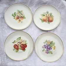 4 Hutschenreuther Selb Bavaria Fruit Plates Peach,Grapes,Cherry, Strawberry 627