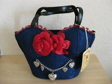 ♥ Räumungsverkauf! Dirndltasche neu Trachtentasche Tasche blau Rosen Handtasche