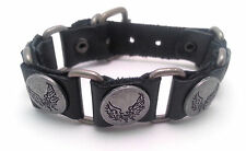Black Leather Bracelet with Angel Wing Designed Metal Buttons - Buckle Clasp