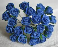 48 ROYAL BLUE SEMI-OPEN ROSE BUDS Mulbery Paper Flowers for wedding miniature