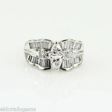 4.00 CT. DIAMOND ART DECO WIDE COCKTAIL RING 14K WHITE YELLOW GOLD SIZE 7