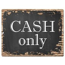 PP0352 Rust CASH Only Plate Sign Bar Store Shop Pub Cafe Home Interior Decor