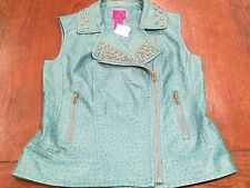NWT Cristina V Punk Rock Poly Studded High Fashion Vest (Small) MSRP $128