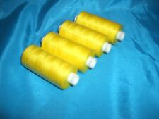 4 REELS YELLOW MOON 1000 yds POLYESTER SEWING MACHINE OVERLOCK THREAD FREE DEL