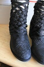 Free People 'Carrera' Woven Leather Ankle Bootie Boots Sz US 7,5-8 EUR 38