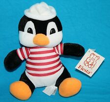 "Fiesta PAULIE PENGUIN 8"" Plush Red White Striped Shirt Sailor Hat C15581 New Toy"