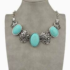 Vintage Stunning Genuine Oval Turquoise Cameo Collar Statement Necklace Pendant