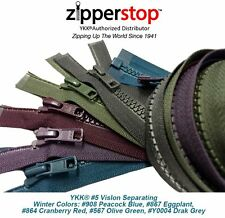 ZipperStop YKK® Fashion 5 Zippers 30 Inch Sport #5 Vislon Molded Winter Colors