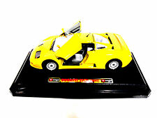 RARE Licensed 1991 Burago Bugatti EB 110 Hot Yellow Nice Wheels NEW in Box 1:24