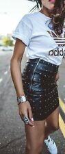 ZARA Black Short Leather - Effect Skirt with Studs Size Small Ref.2398/032