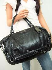 COACH MINT LRG Black Exotic Croc Leather Embossed Madison Satchel #15954