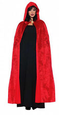 LADIES RED DEVIL SATAN RIDING HOODED CLOAK FANCY DRESS VAMPIRE CAPE LONG NEW